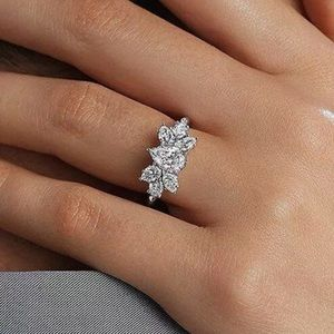 ROMA PEAR SHAPED WHITE SAPPHIRE & CZ SILVER RING